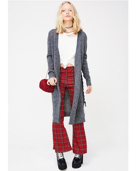 Don't Mess With Me Lace-Up Cardigan