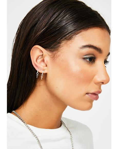 Don't Cross Me Clip On Earrings
