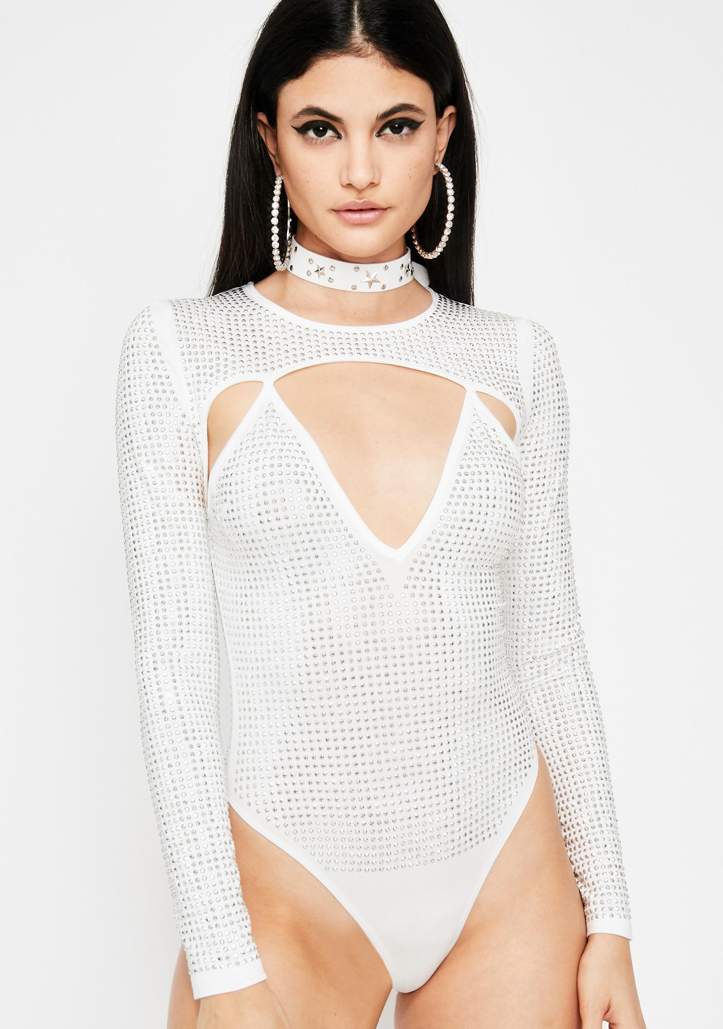 Icy Crystalline Cyber Cut Out Bodysuit