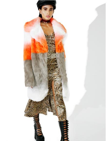 Blurred Linez Faux Fur Coat