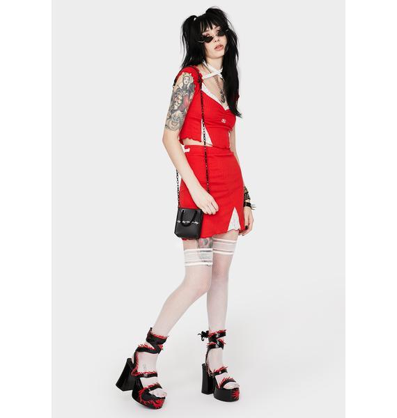 GANGYOUNG Red Saturn Skirt Set