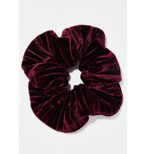 Wine Velvet Bun Scrunchie