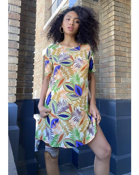 Nature Print Shirt Dress