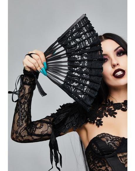Black Gothic Lace Fan
