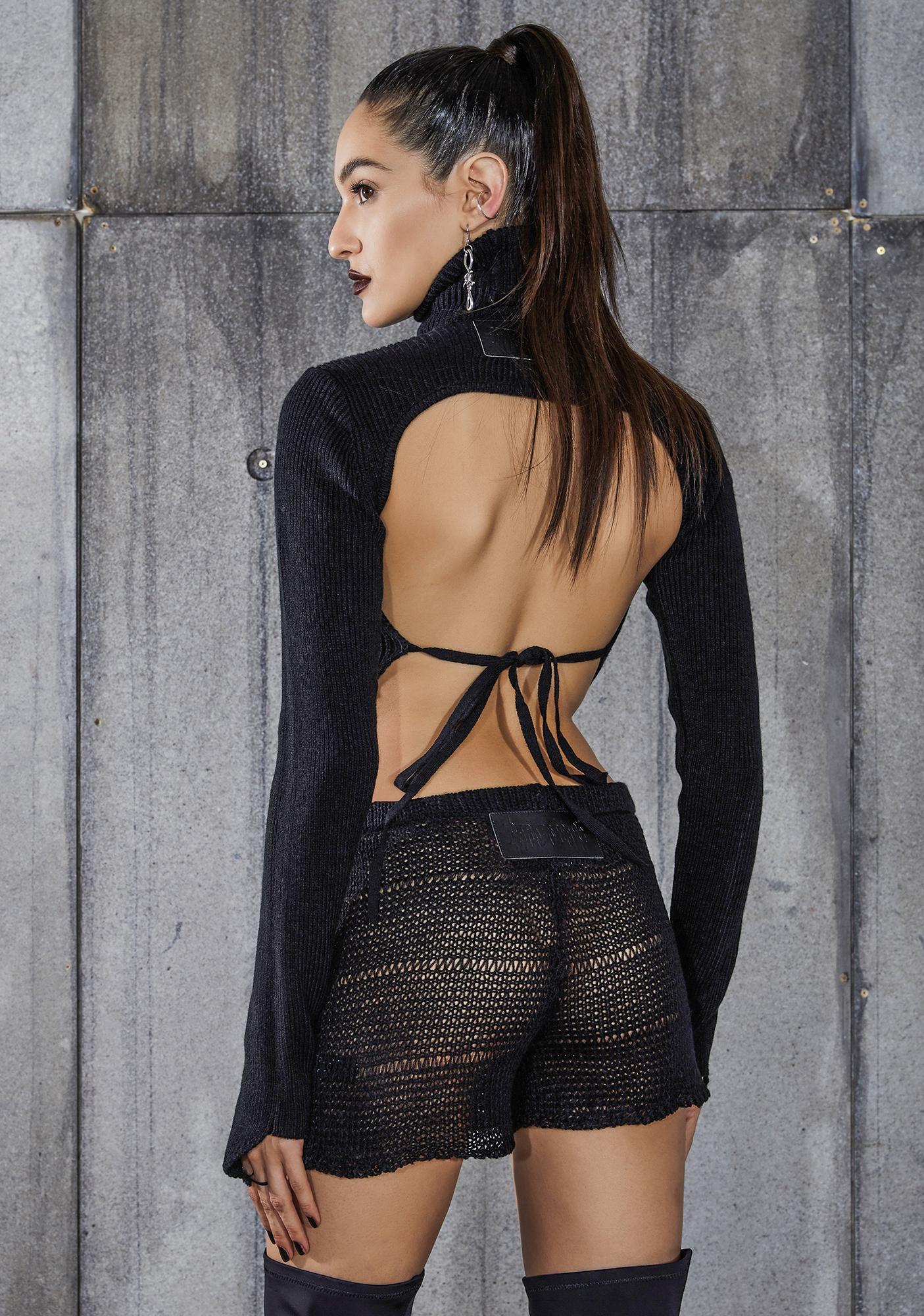 DARKER WAVS Snare Sheer Knit Shorts