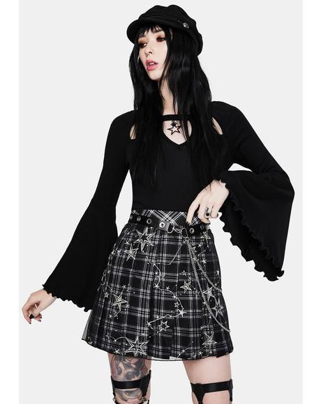 Plaid Distressed Mini Skirt