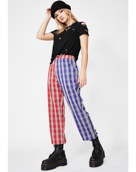 Side To Side Plaid Pants