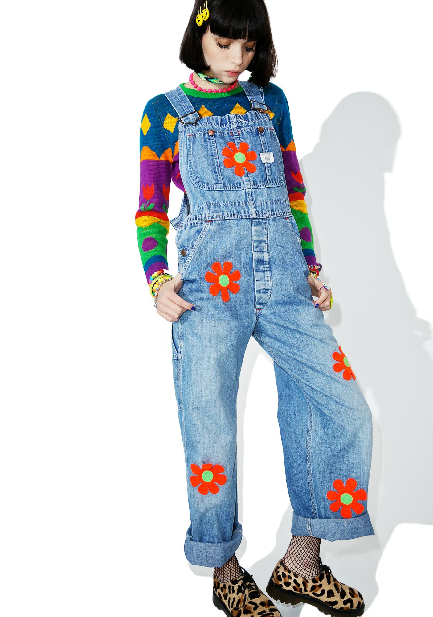 Vintage 90s Flower Patch Overalls