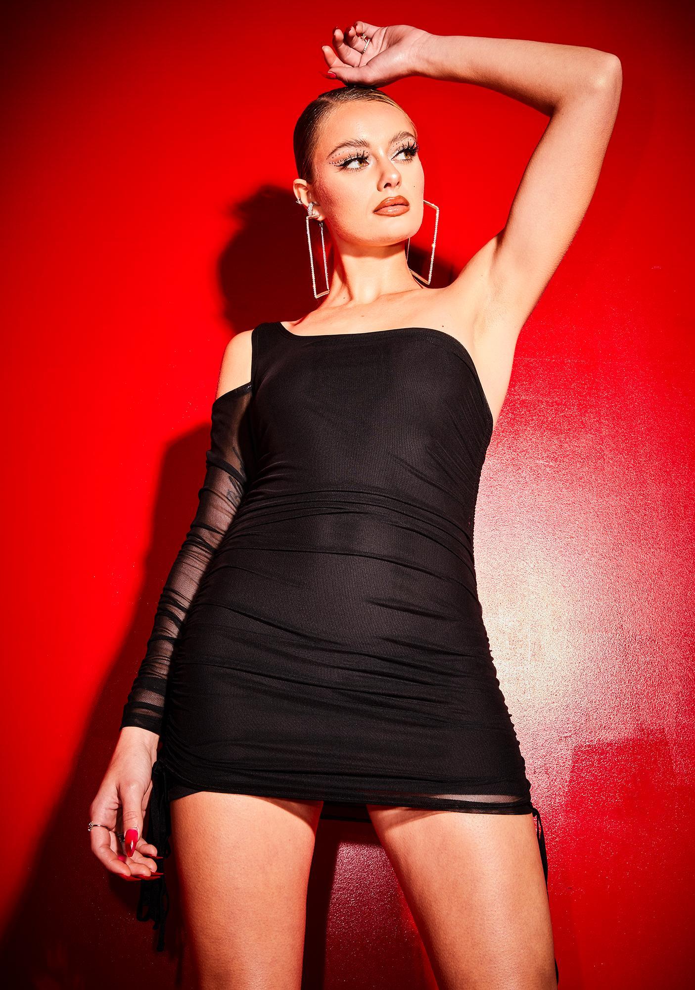 Poster Grl Royal Tartness Cutout Sleeve Mesh Dress
