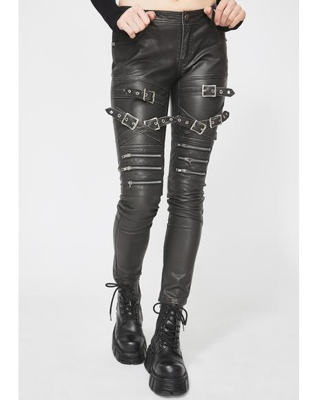 Faux Leather Buckle Skinny Pants