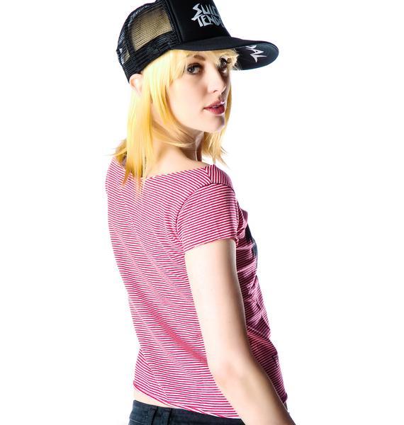 Crazy Girl Striped Cap Sleeve Tee