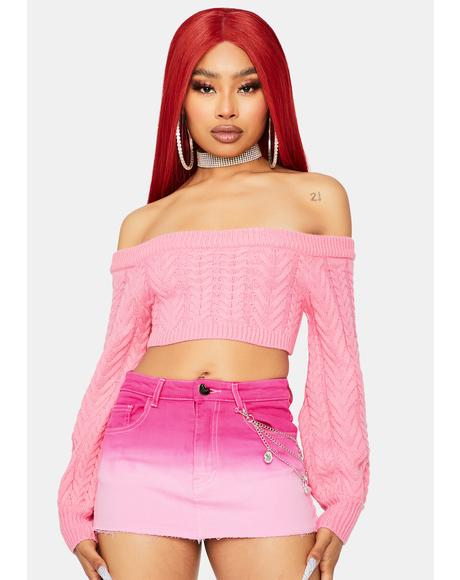 Rose Takin' Cues Cable Knit Sweater
