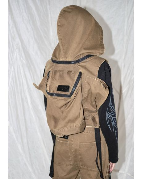 Synth Unisex Cargo Overalls With Attached Backpack