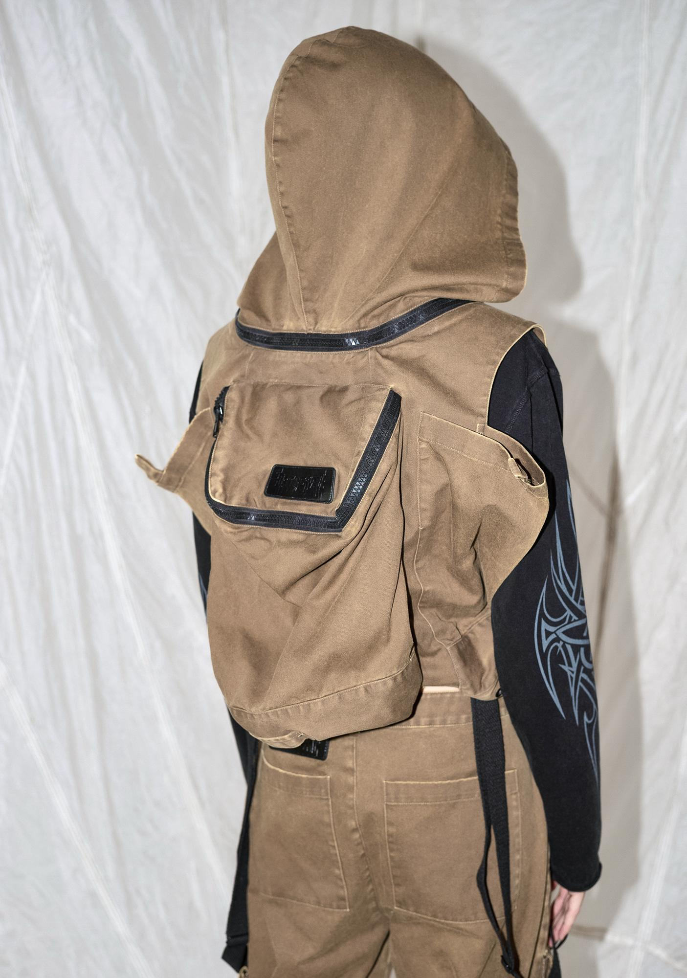 DARKER WAVS Synth Unisex Cargo Overalls With Attached Backpack