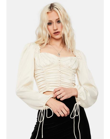 Cream With Love From LA Satin Ruched Crop Top
