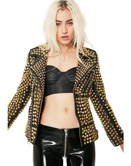 Gilded Queen Of Metal Leather Jacket