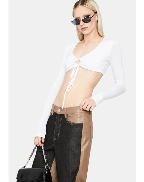 Blanc Big Moves Front Tie Crop Top