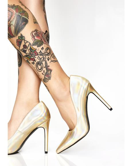 Golden Cosmic Fantasy Hologram Heels