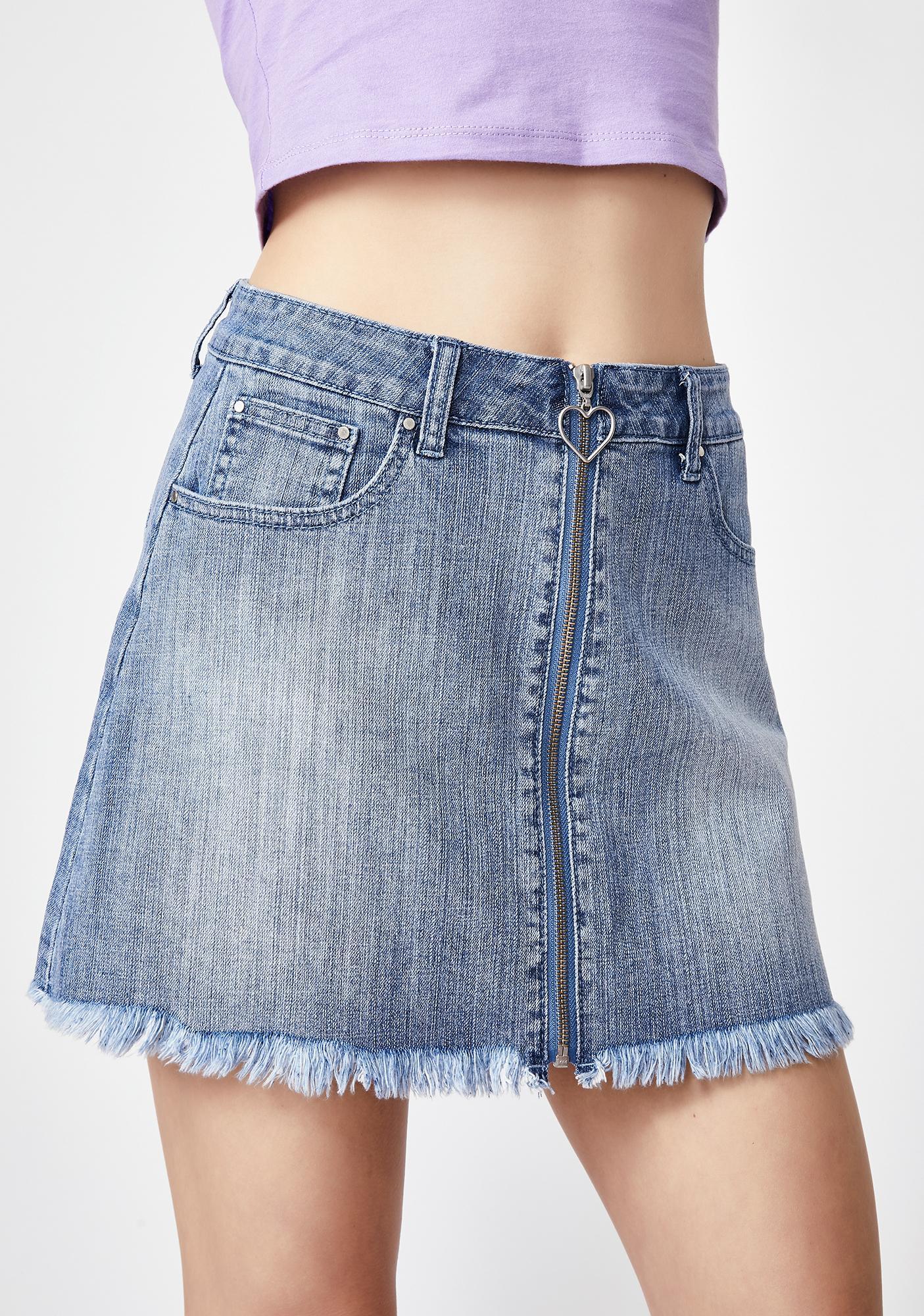 Sugar Thrillz Rich In Love Denim Skirt