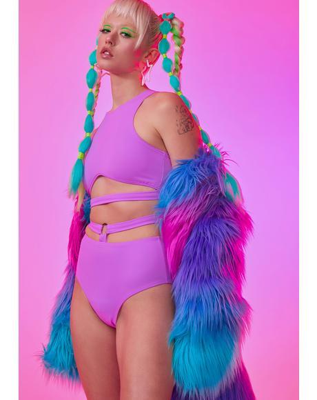 Neon Lavender Cutout Crop Top