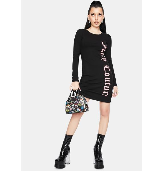 JUICY COUTURE Black Long Sleeve Mini Dress