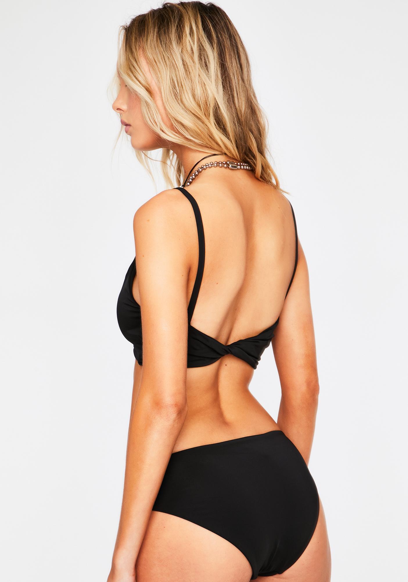 Dippin' Daisy's Black Charmer Cut Out Bikini Bottoms