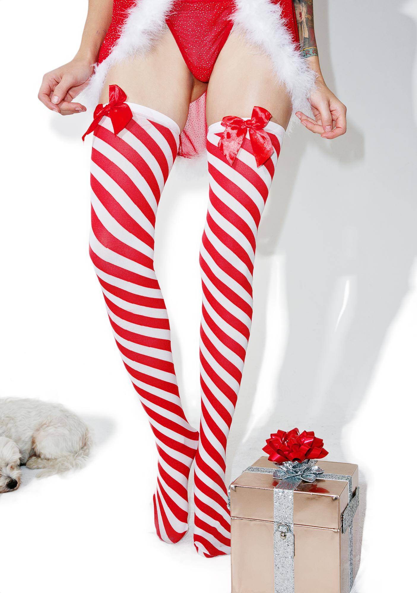Candy Cane Dame Thigh-Highs
