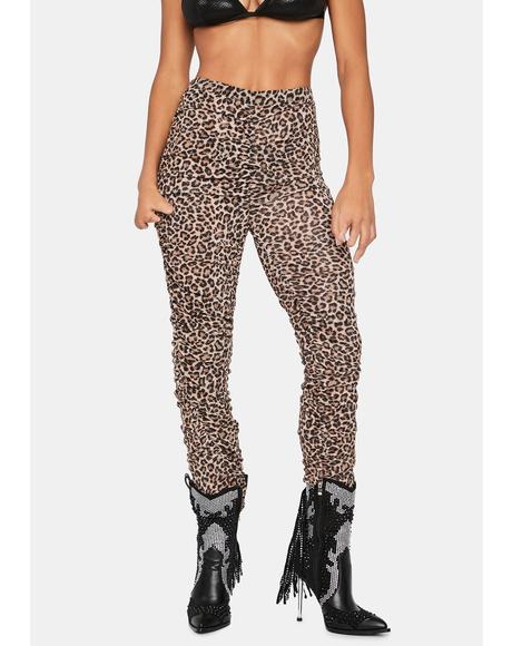 Hotel Motel Leopard Print Ruched Pants