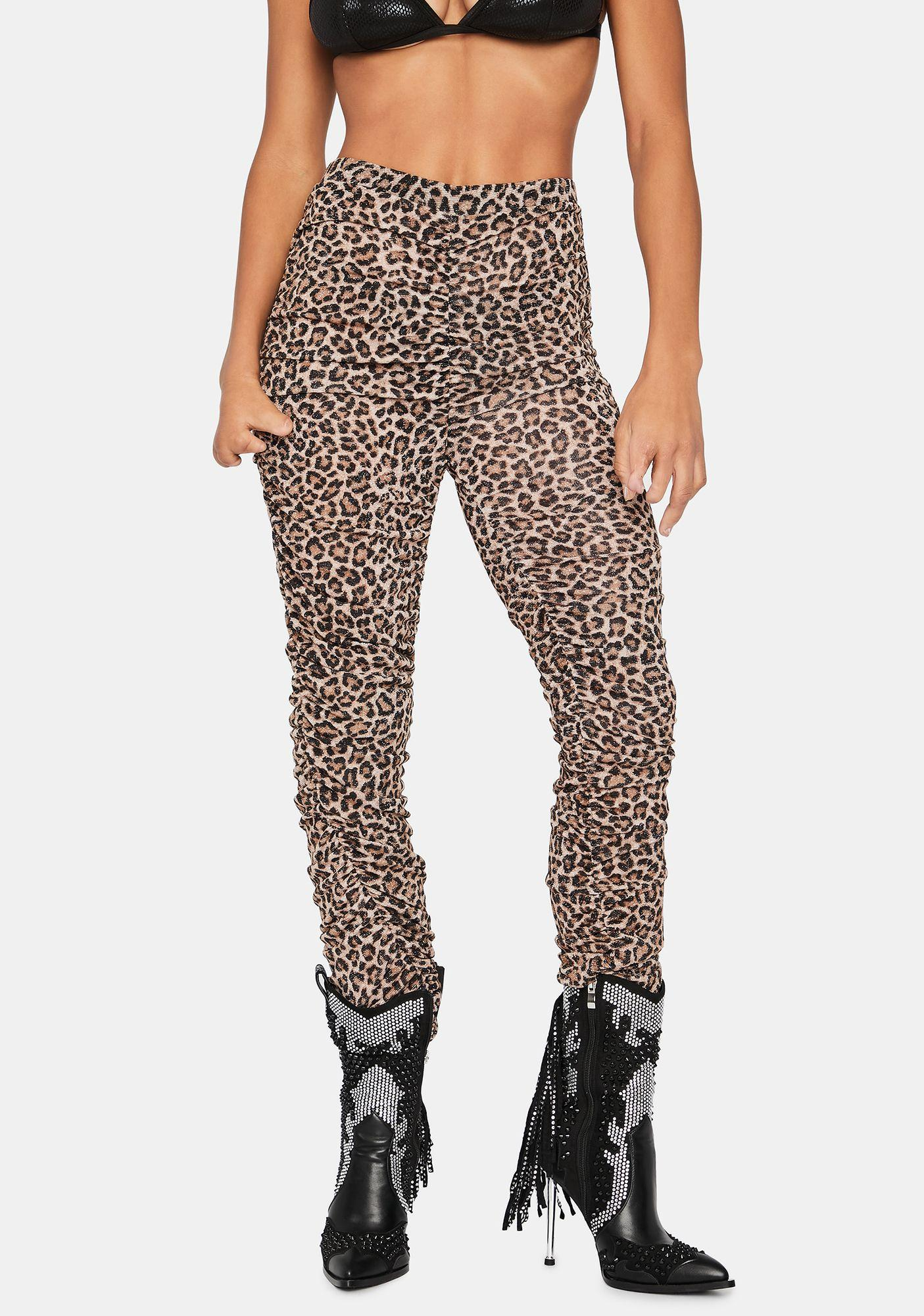Hotel Motel Leopard Print Ruched Pants