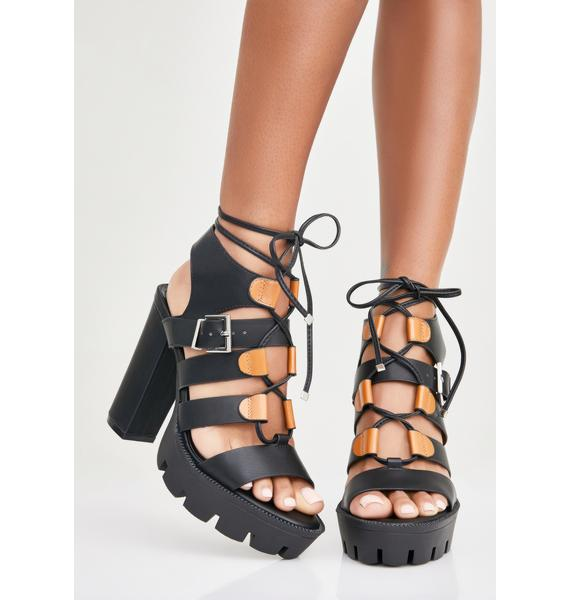 Late Arrival Lace-Up Sandals