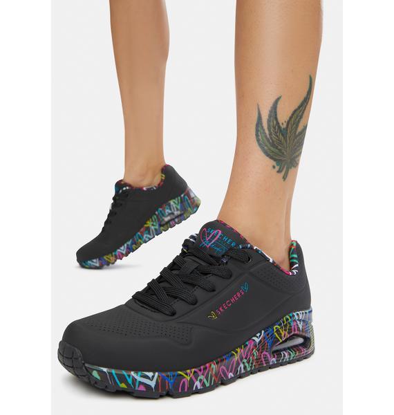 Skechers x JGoldcrown Black Loving Love Uno Sneakers