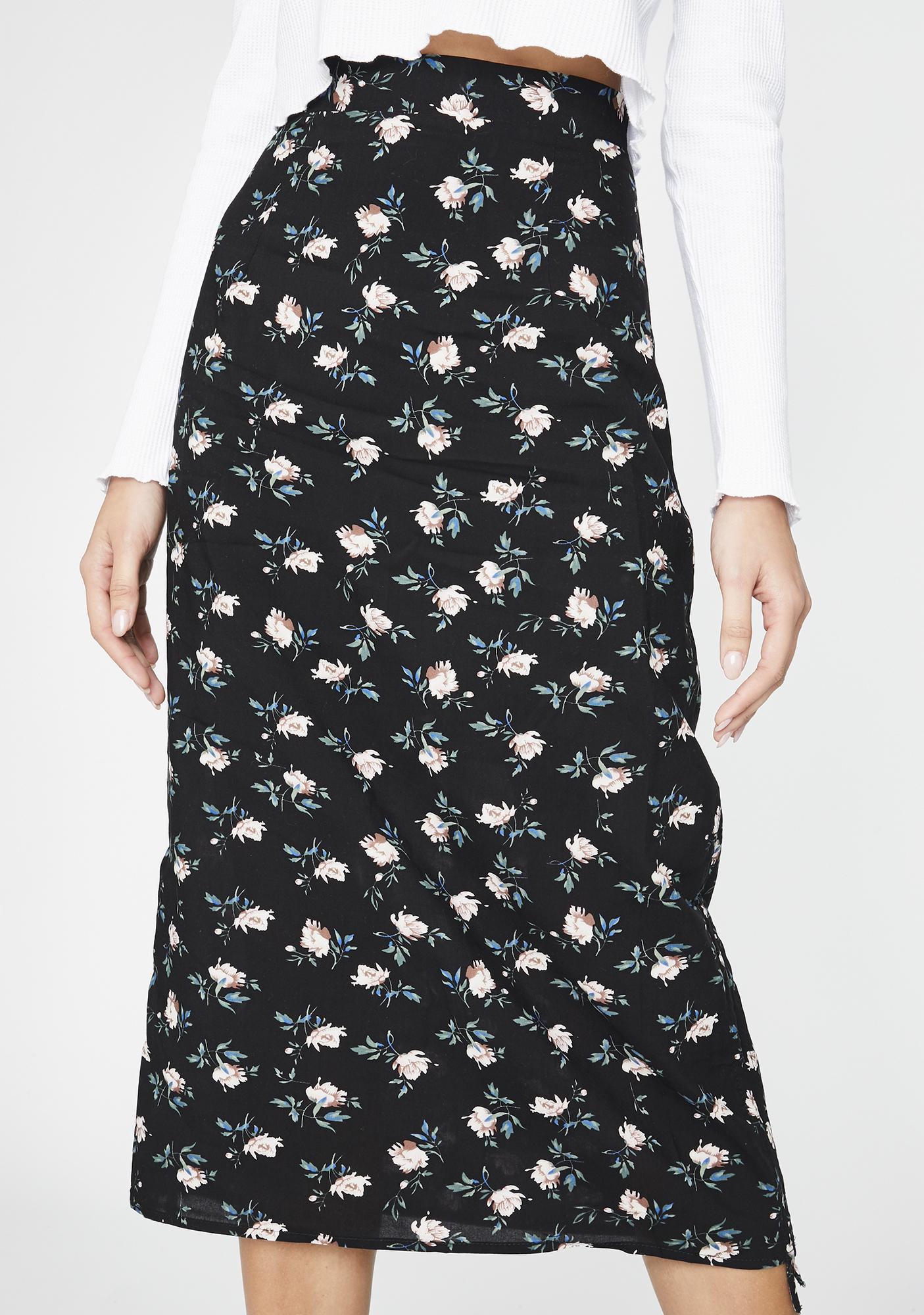 Daisy Street High Waist Floral Midi Skirt