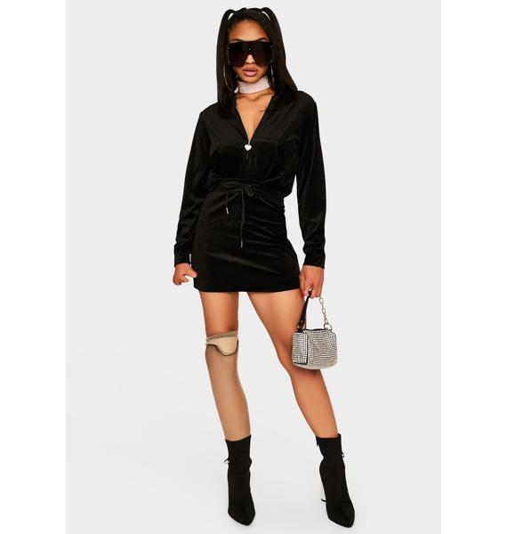 Noir Proper Plush Velour Skirt Set