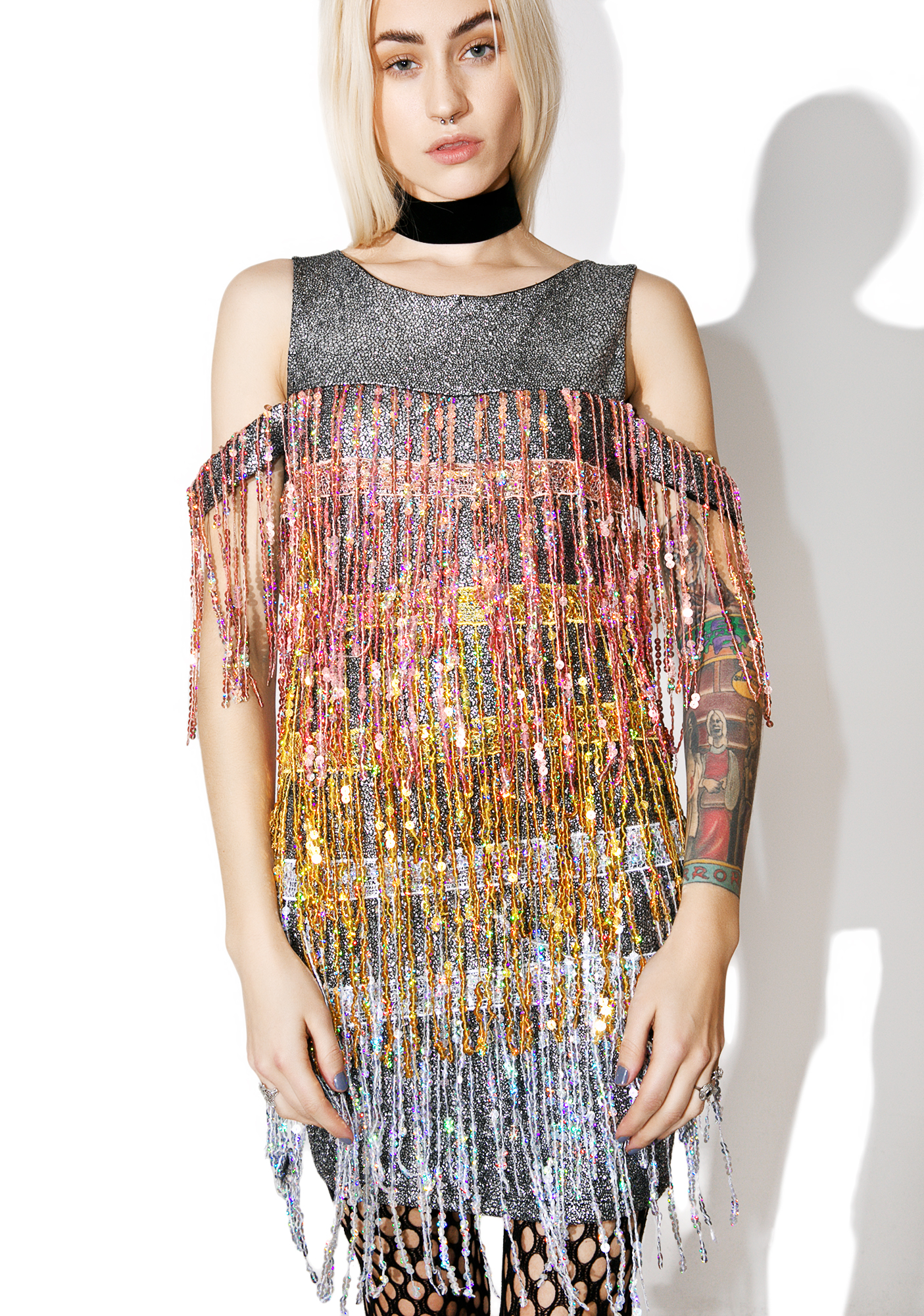 Jaded London Sequin Fringe Mini Dress