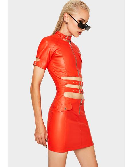 Red Faster Pussycat Vegan Leather Dress