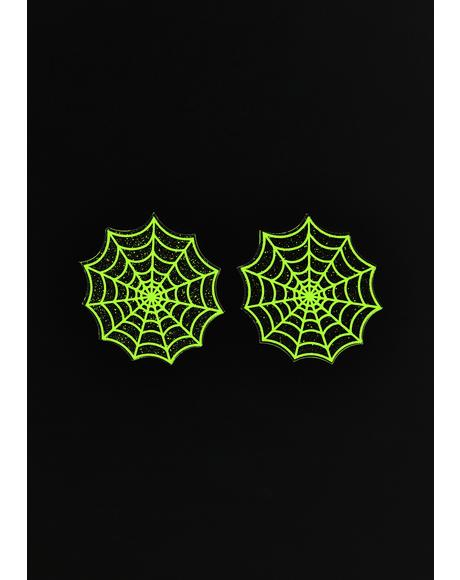 Blacklight Spider Web Glitter Pasties