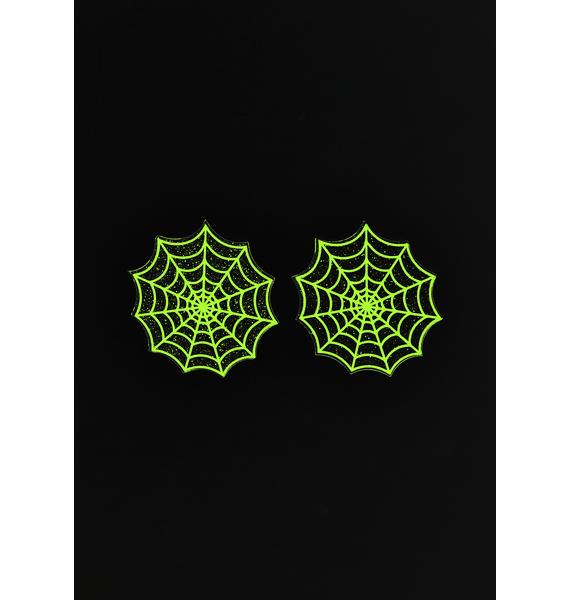 Neva Nude Blacklight Spider Web Glitter Pasties