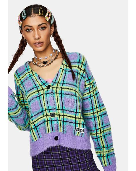 Goof Fuzzy Plaid Cardigan