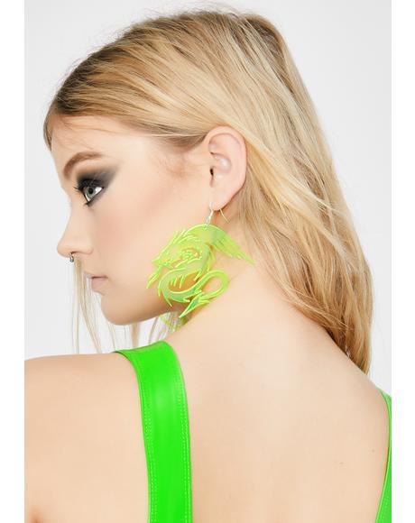 Neon Yellow Dragon Baby Earrings