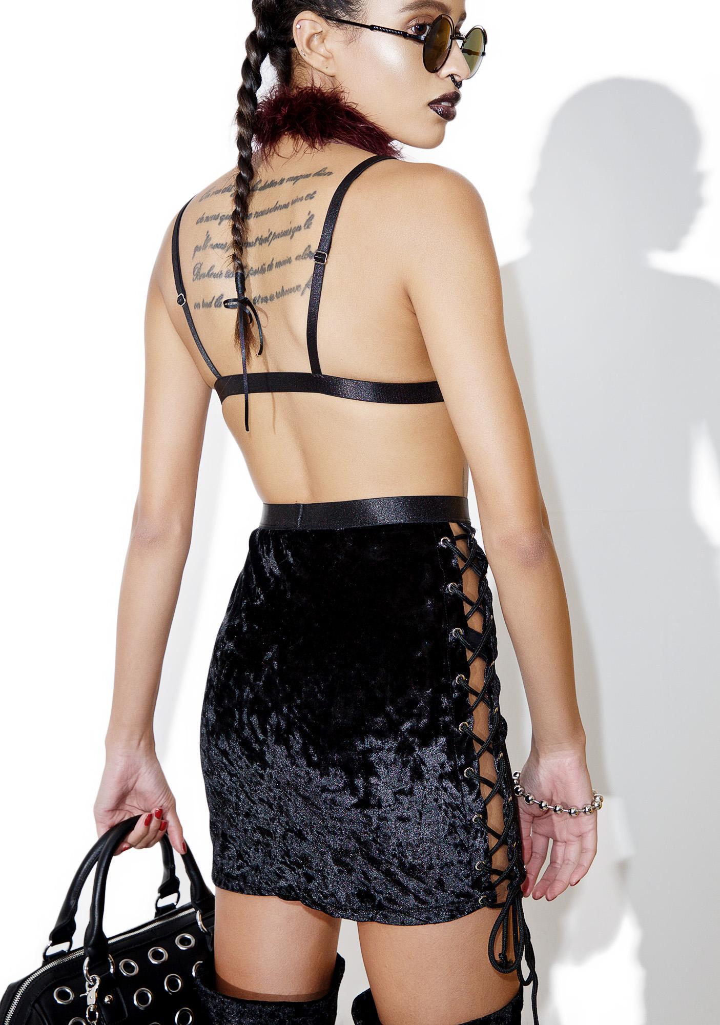 Current Mood Velvet Crushin' Lace-Up Skirt
