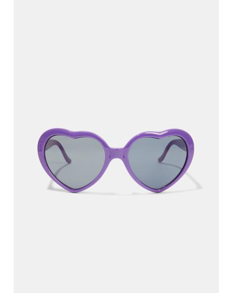 Violet Wowza Heart Sunglasses