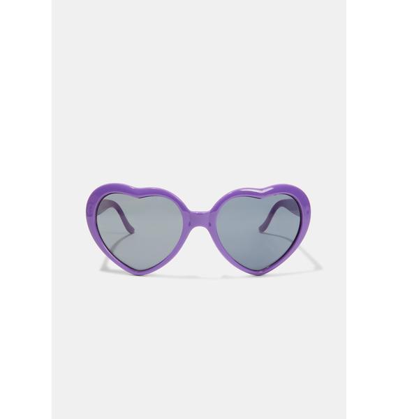 Violet Wowza Heart Sunglasses