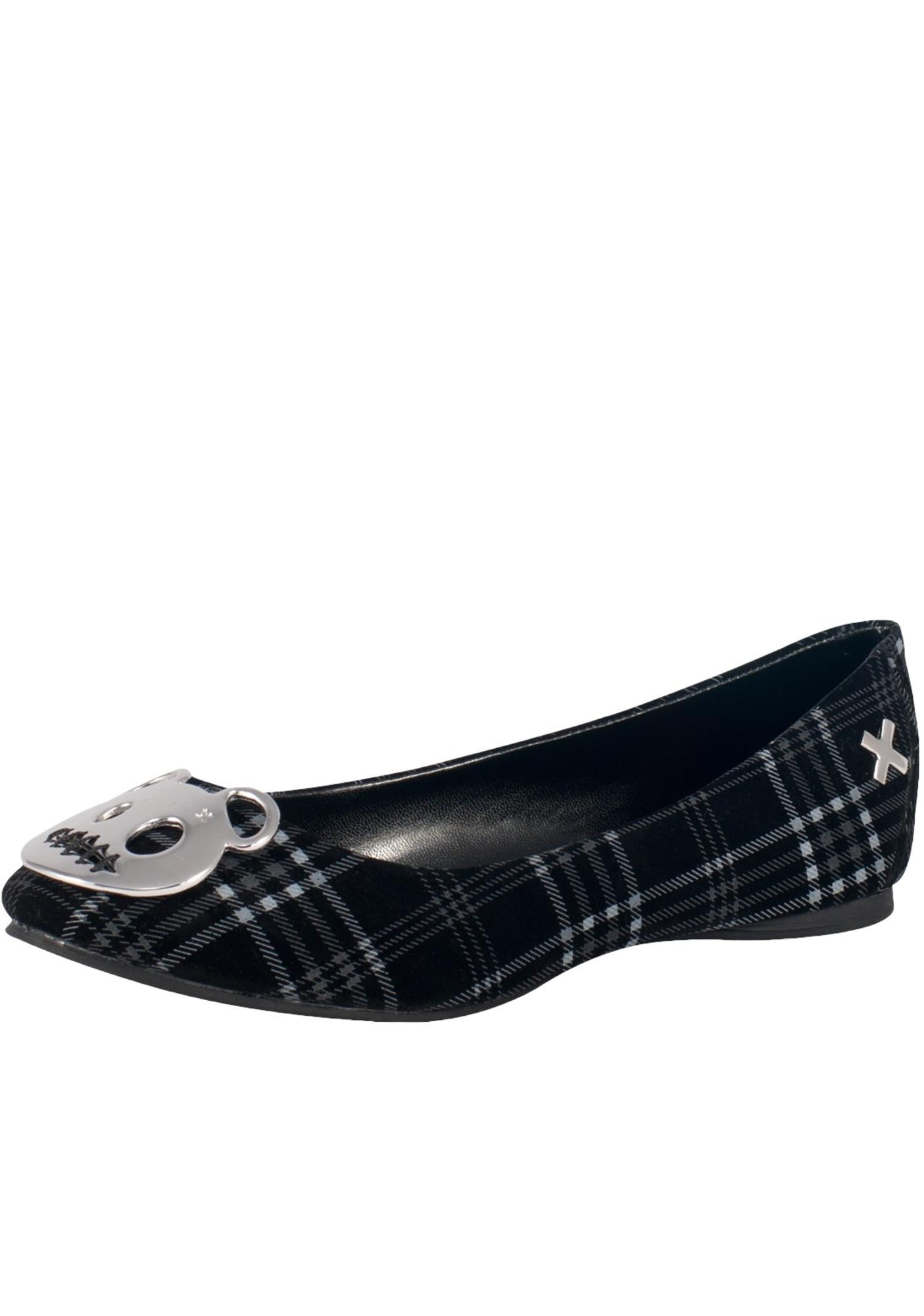 T.U.K. Velvet Plaid Metal Teddy Plate Flats