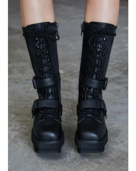 Kickdrum Leather Strap Combat Boots