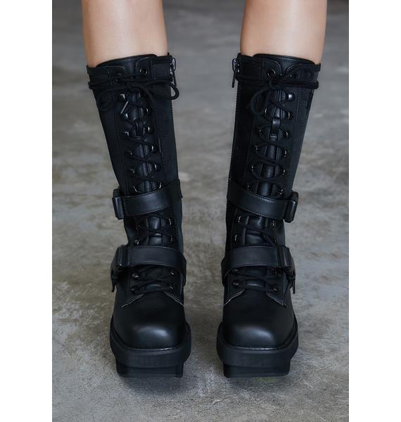 DARKER WAVS Kickdrum Leather Strap Combat Boots