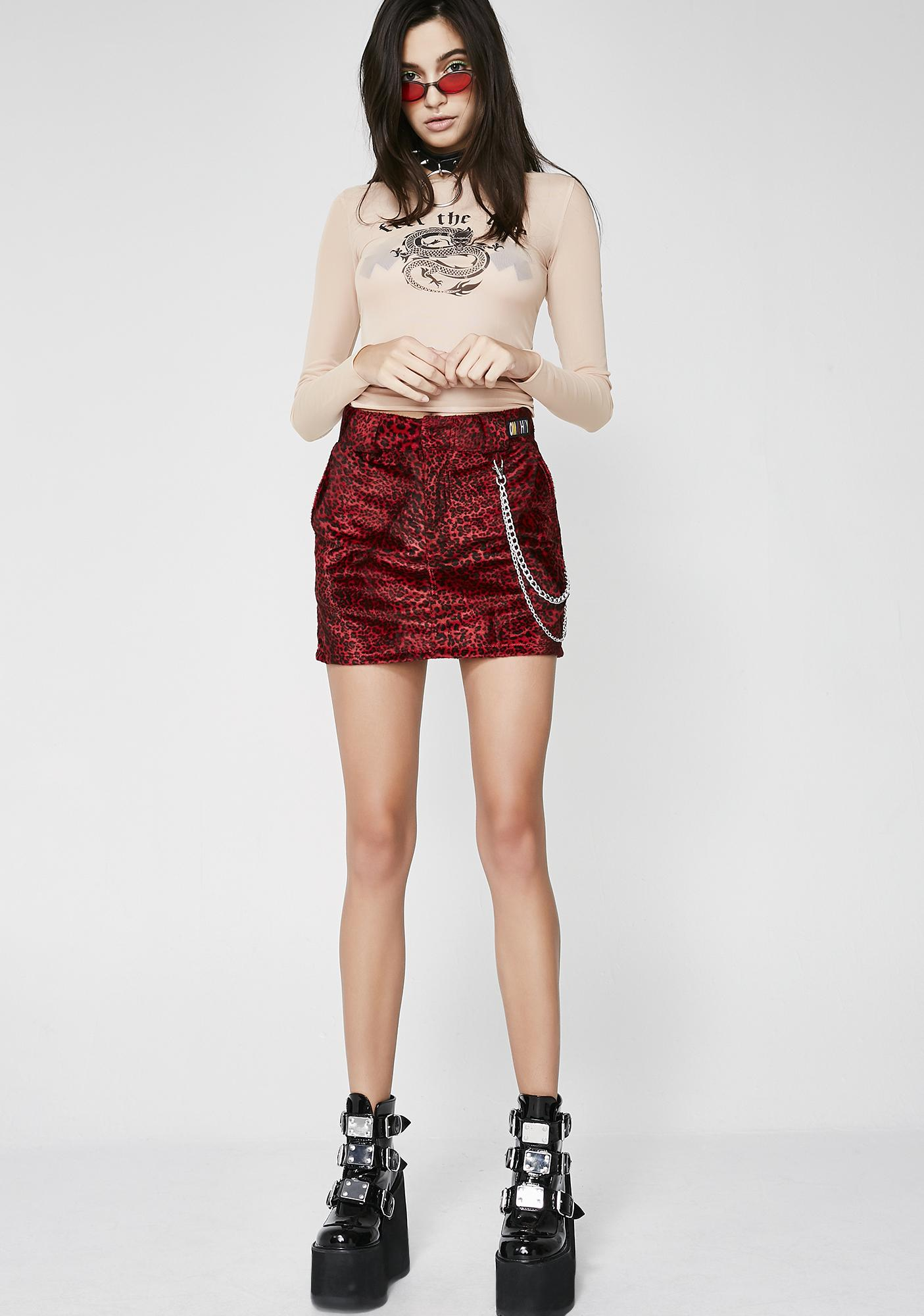 O Mighty Red Leopard Chain Skirt