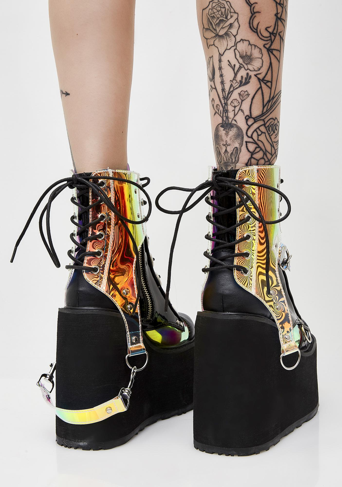 Lace Up Holographic Platform Boots | Dolls Kill
