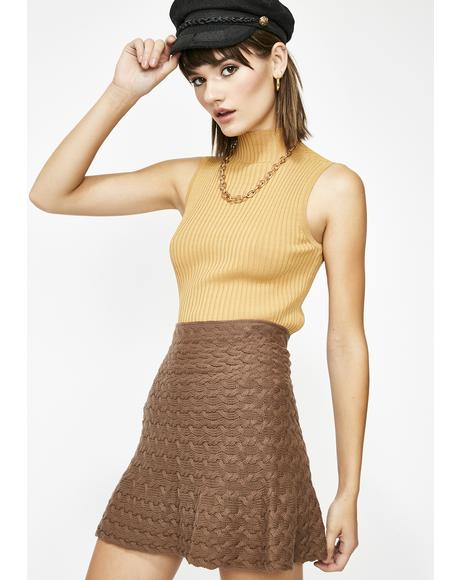 Mocha Cozy Corner Sweater Skirt