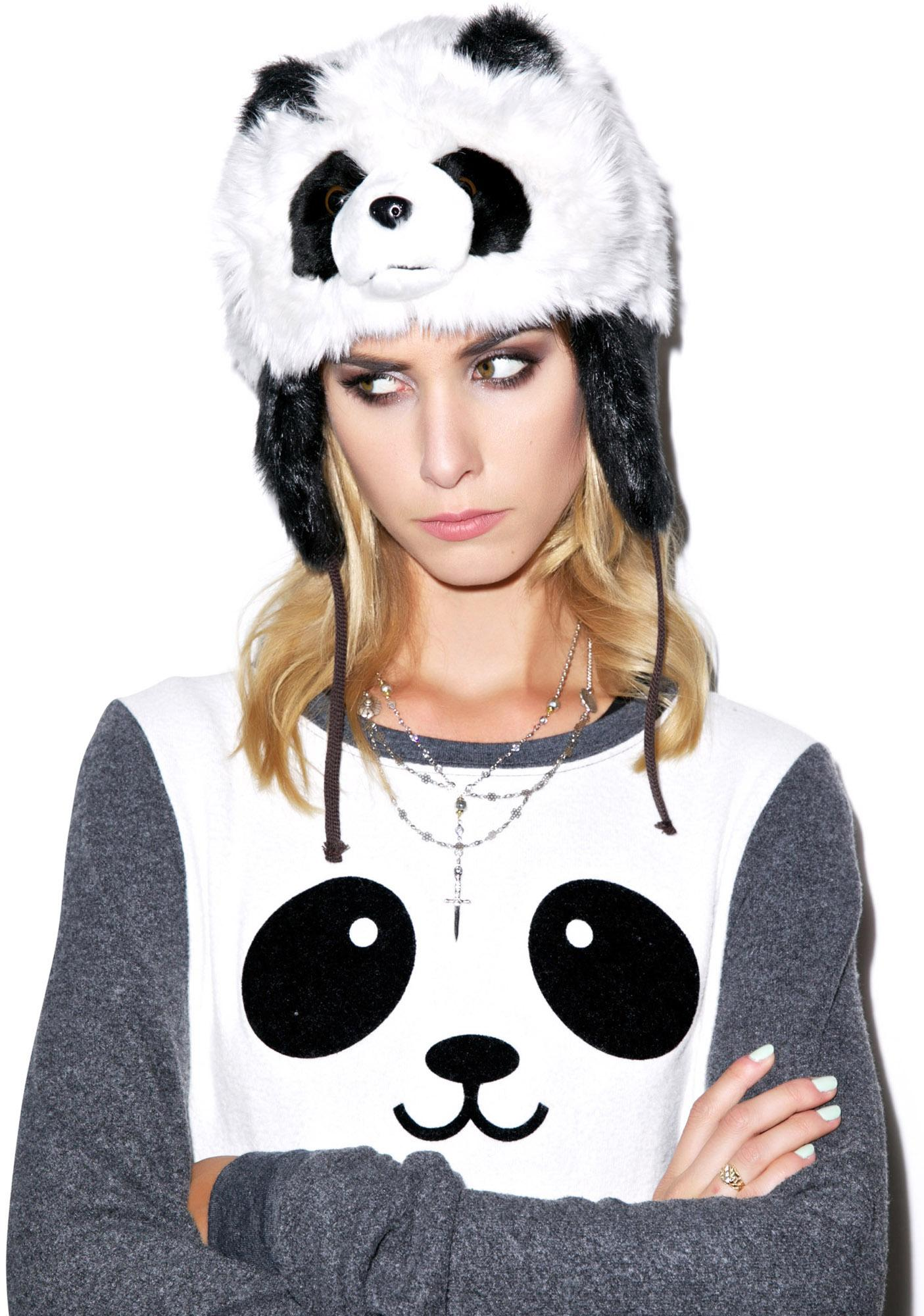 Sad Panda Faux Fur Hat