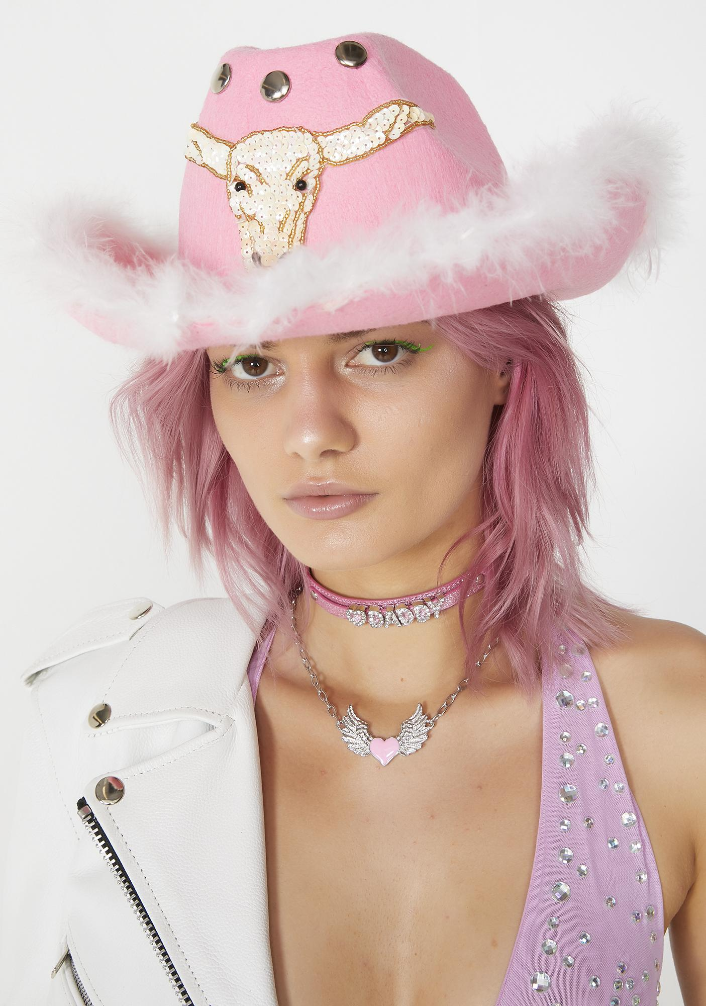 Nevada Clothing Sequin Buffalo Fluffy Pink Cowboy Hat